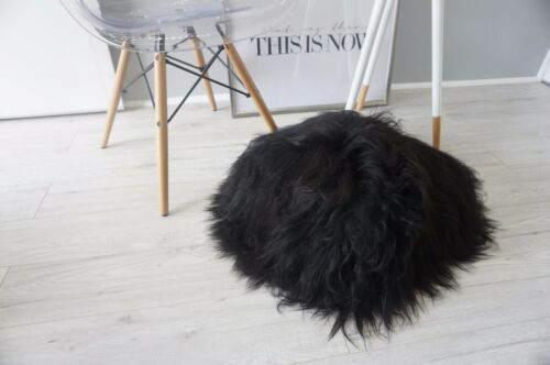 LONG WOOL PILLOW RUG ADD SUPER SOFT GENUINE ICELANDIC SHEEPSKIN CUSHION BLACK