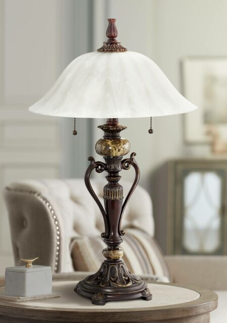 Antique Style Bronze Accent Table Lamp, Twin Pull Chain Table Lamp