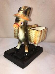 Vtg-50-s-Japan-Pottery-Jack-Donkey-Ass-Burro-Cigarette-Pack-Holder-Planter-Vase
