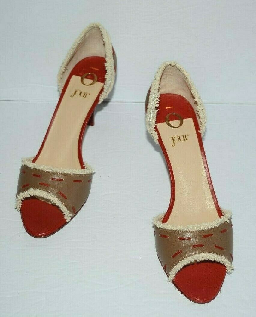 O JOUR  TAN & RED LEATHER PEEP TOE PUMPS WOMEN SZ 37.5 US 7.5 EUC