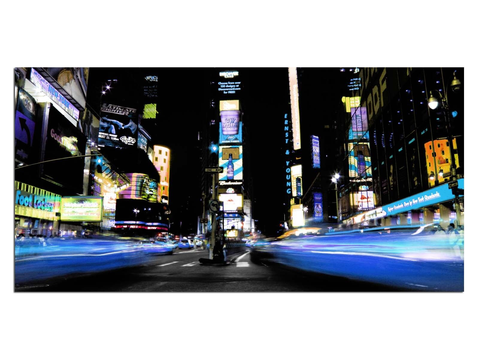 Deco Glass Picture EG4100500916 TIMES SQUARE NYC Blau Größe 39,37  x 19,68  HD Pr