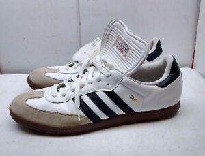 hot sale online 81677 faca7 Image is loading Adidas-Samba-Men-Leather-White-Athletic-Lace-Up-