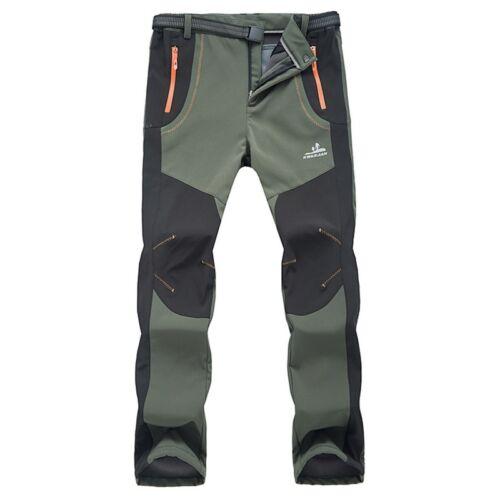 Mens Winter Outdoor Hiking Ski Pants Fleece Padded Windproof Waterproof Trousers