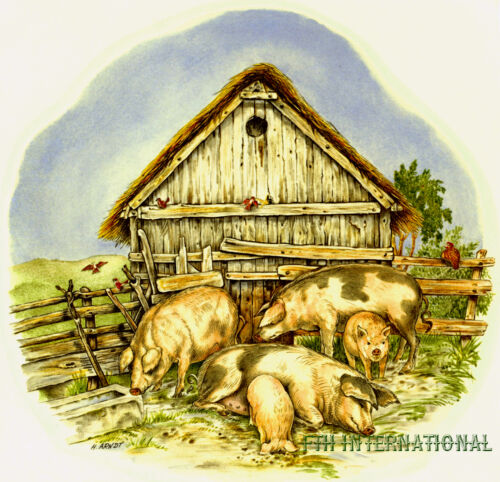 4 sizes A07 ~ Pig Family Ceramic Decals Hogs 2 designs to choose from Farm