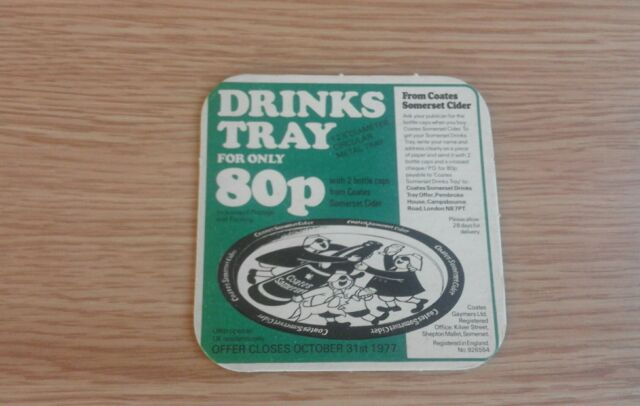 Coates Somerset Cider - Tray Offer Beermat - 1977