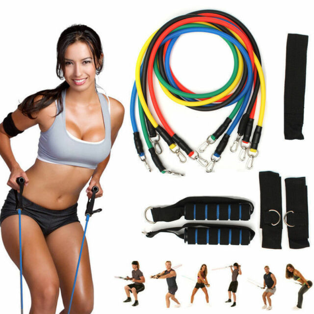 Best Price 11 Piece Exercise Resistance Bands Workout Exercise Yoga Fitness BNWB
