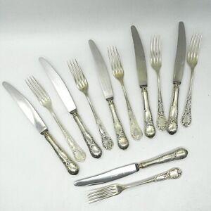 Jugendstil-100er-Silber-Duebe-Solingen-6x-Gabel-6x-Messer-12-Teile-25-5-21-5-cm