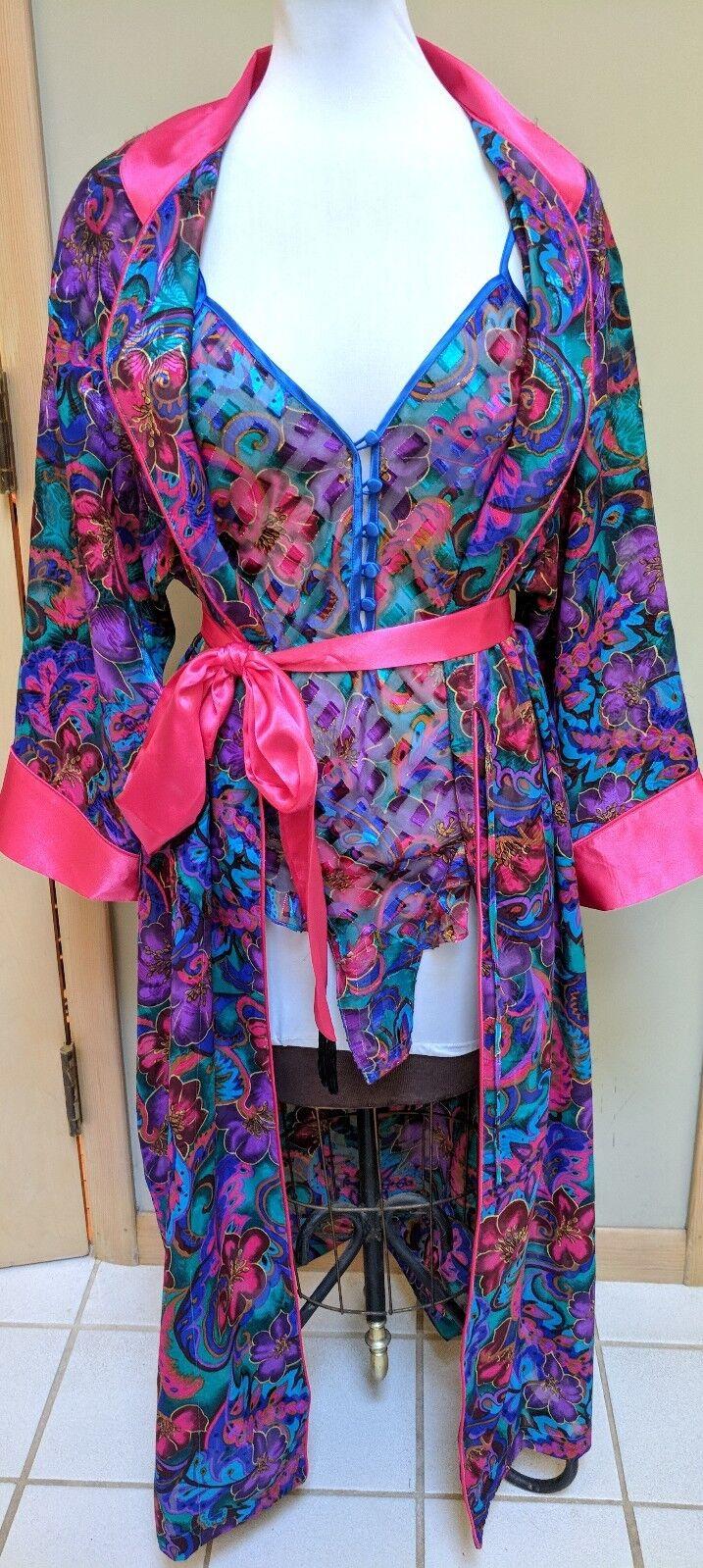 New Vintage Victoria's Secret Teddy & Robe Textured Satin Lingerie Set Small S P