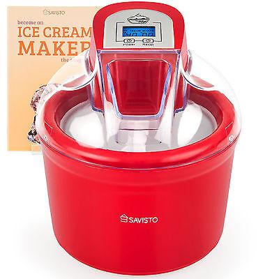Savisto 1.5 Litre Red Ice Cream Maker, Sorbet & Frozen Yoghurt Dessert Machine