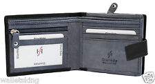 STARHIDE MENS BLACK GREY REAL COW NAPA LEATHER WALLET WITH ZIP COIN POCKET 1180
