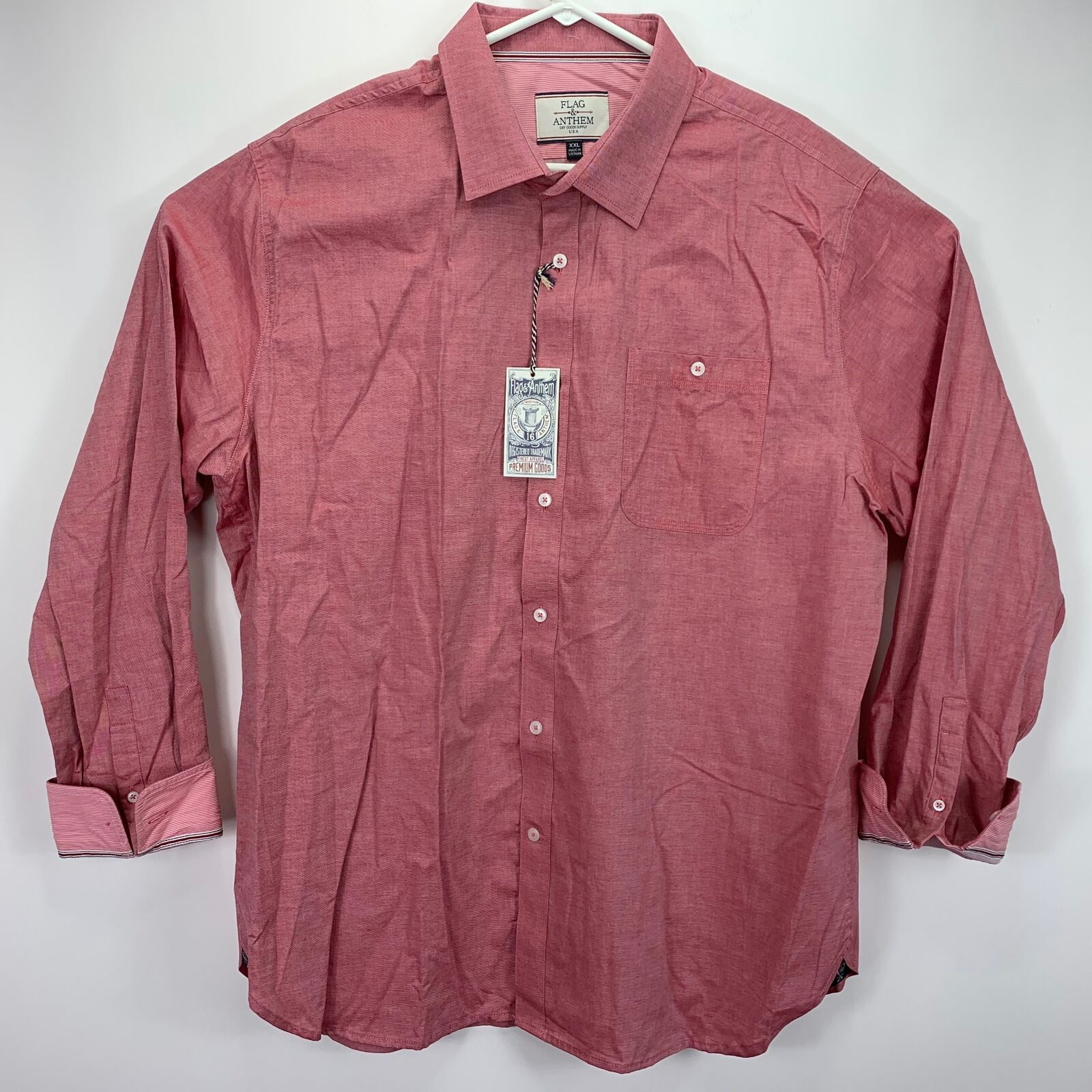 Flag & Anthem Mens Solid Long Sleeve Button Down Shirt Pink Red 2XL