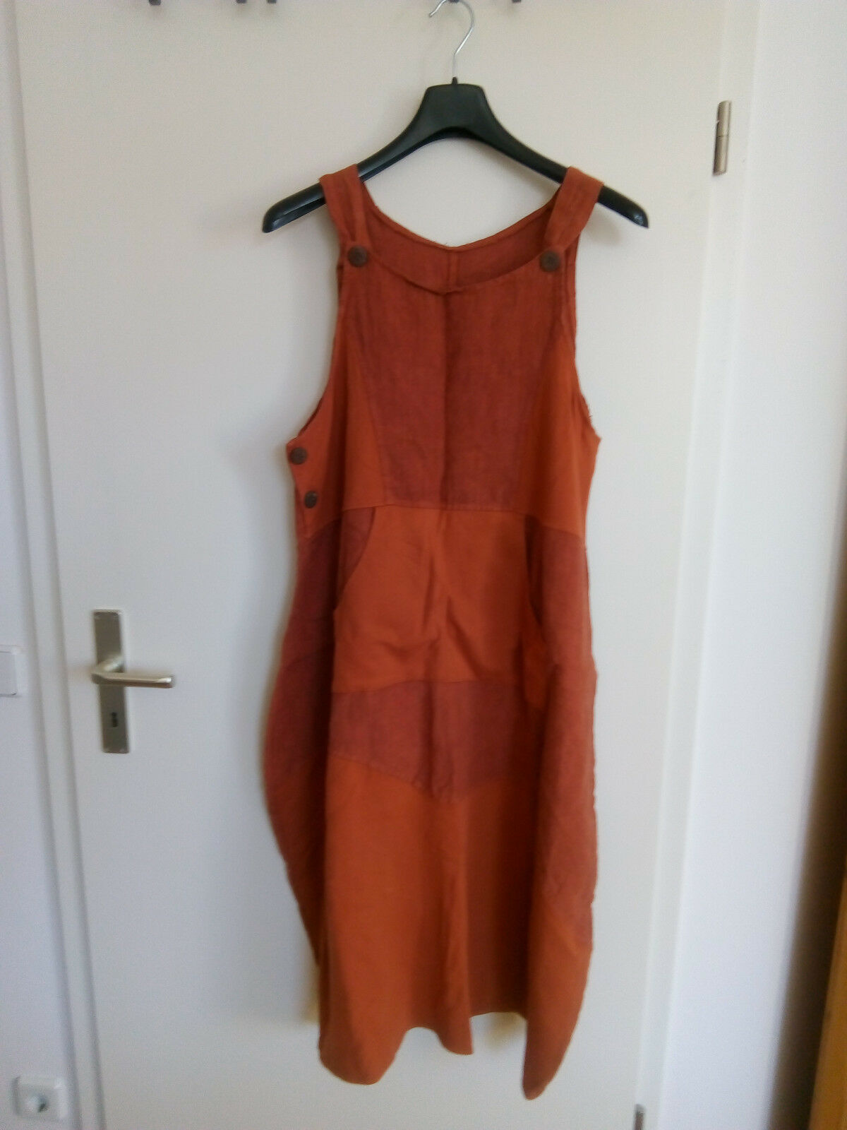 Tolles Kleid aus Leinen und Baumwolle terracotta Lagenlook passt ca. bis Gr.44