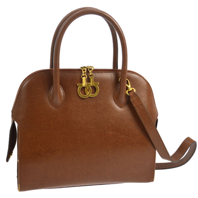 7c5a0db91520 Authentic Salvatore Ferragamo Gancini 2way Hand Bag Brown Leather Vintage  S07705