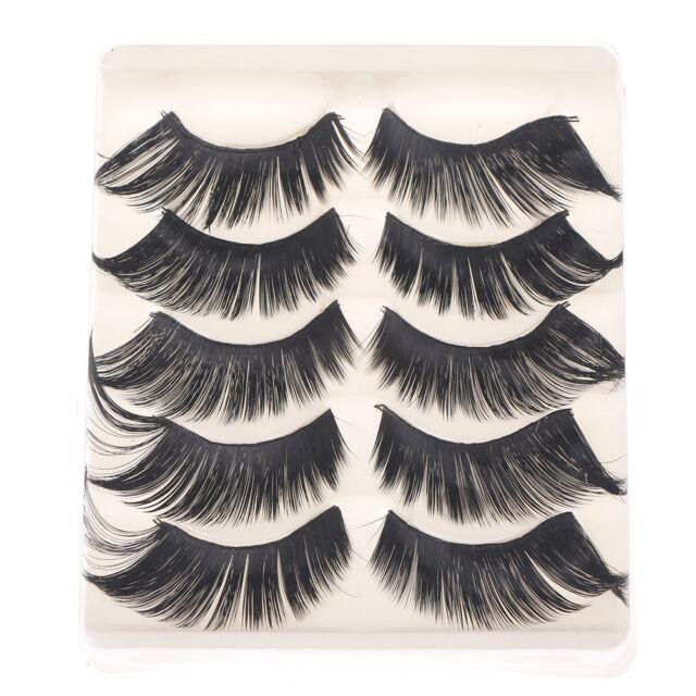 5 Pairs 3D Cross Thick Long False Eyelashes Stage Makeup Fake Eye Lashes  CABHCA