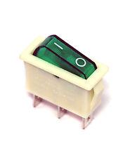 5pc Rocker Switch R12 On-Off 3P 16A 125/250VAC Cap= Green R121-12C-28 PRONIC