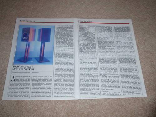 B&W Matrix 1 Speaker Review, 1986, 2 pgs, Full Test