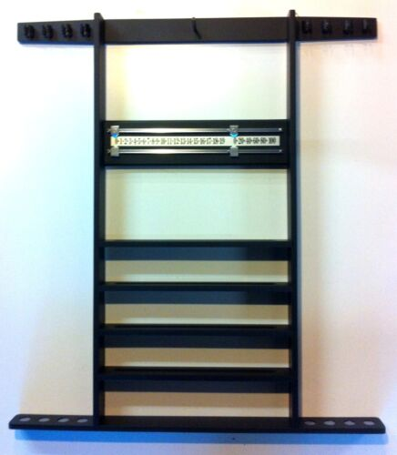 1 of 1 - BLACK POOL TABLE CUE RACK, Holds 8 Cues, Balls, Triangle, Snooker Scoreboard