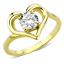 Women/'s Stainless Steel Heart Round CZ Wedding Promise Engagement Gold EP Ring