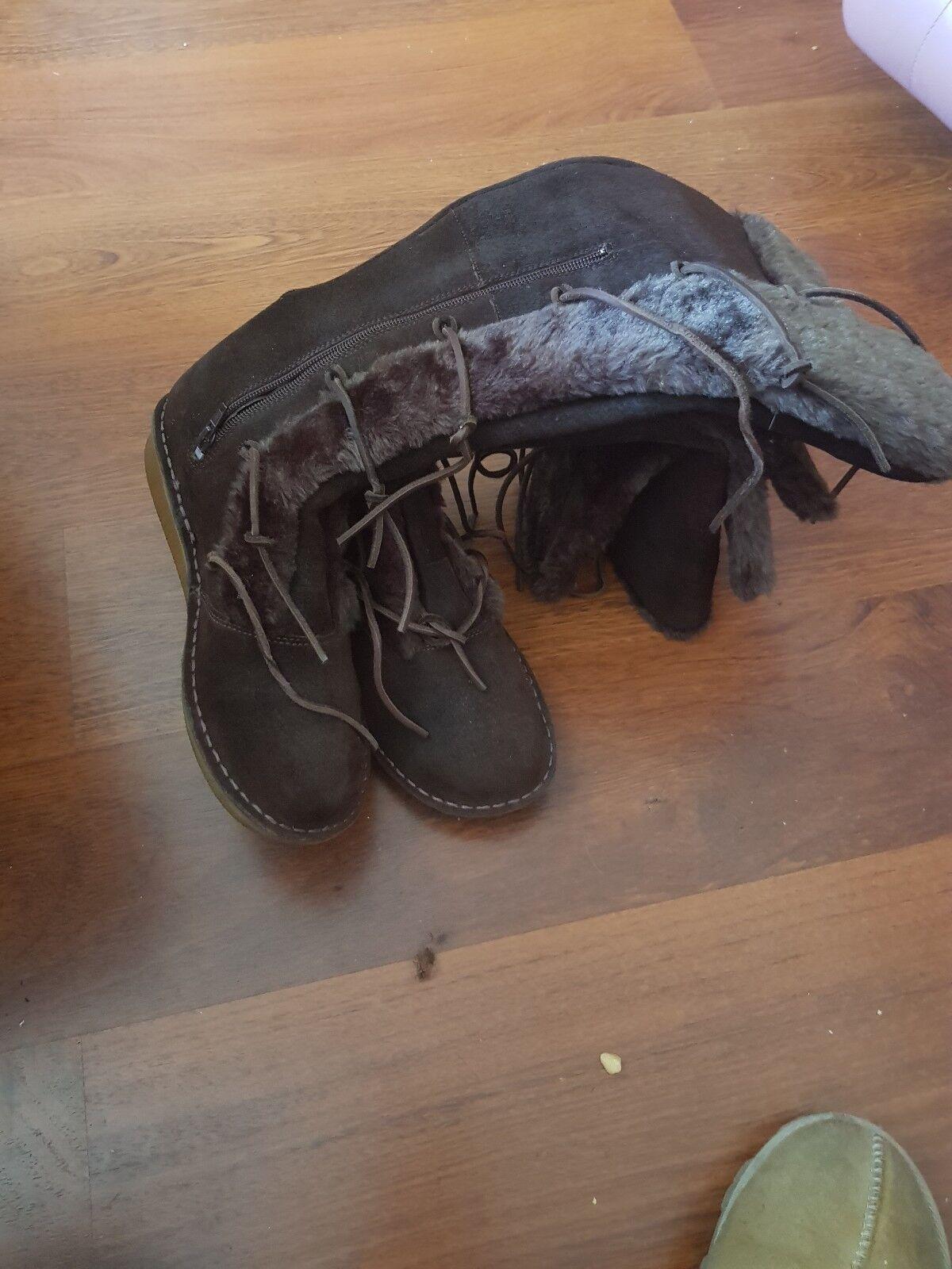 Clarks Braun suede Stiefel Größe Größe Stiefel 7.5 331e71