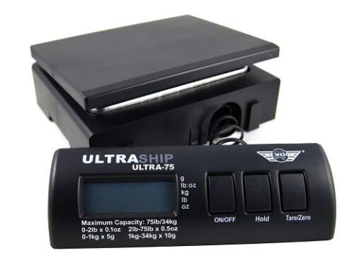 Paketwaage MyWeigh Ultrahip 75 schwarz Versandwaage Briefwaage mit NETZTEIL