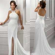 WOMENS ROMANTIC CHIFFON WEDDING DRESS. BRIDAL GOWN. SIZES 2-18W. HANDMADE.