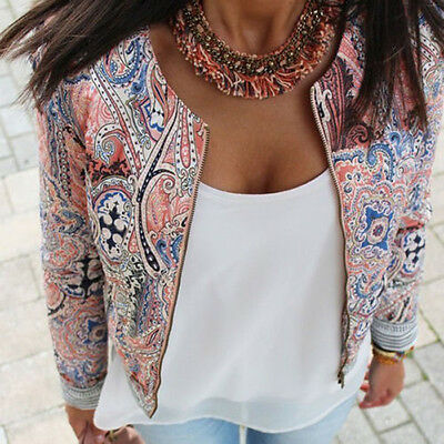 Fashion Women's Floral Slim Casual Summer Blazer Suit Jacket Coat Outerwear Q
