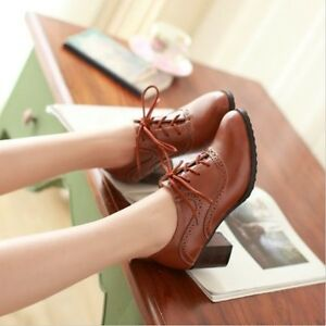 Women-039-s-Vintage-Brogue-Lace-Up-Retro-Mid-Chunky-Heels-Wing-Tip-Oxford-Shoes
