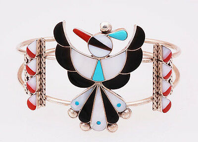 Native American Zuni Multi-Stone Inlay Sterling Silver Thunderbird Bracelet