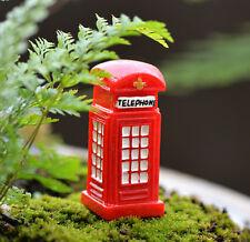 FD3536 Miniature Telephone Booth Dollhouse Garden Craft Fairy Bonsai Decor X1