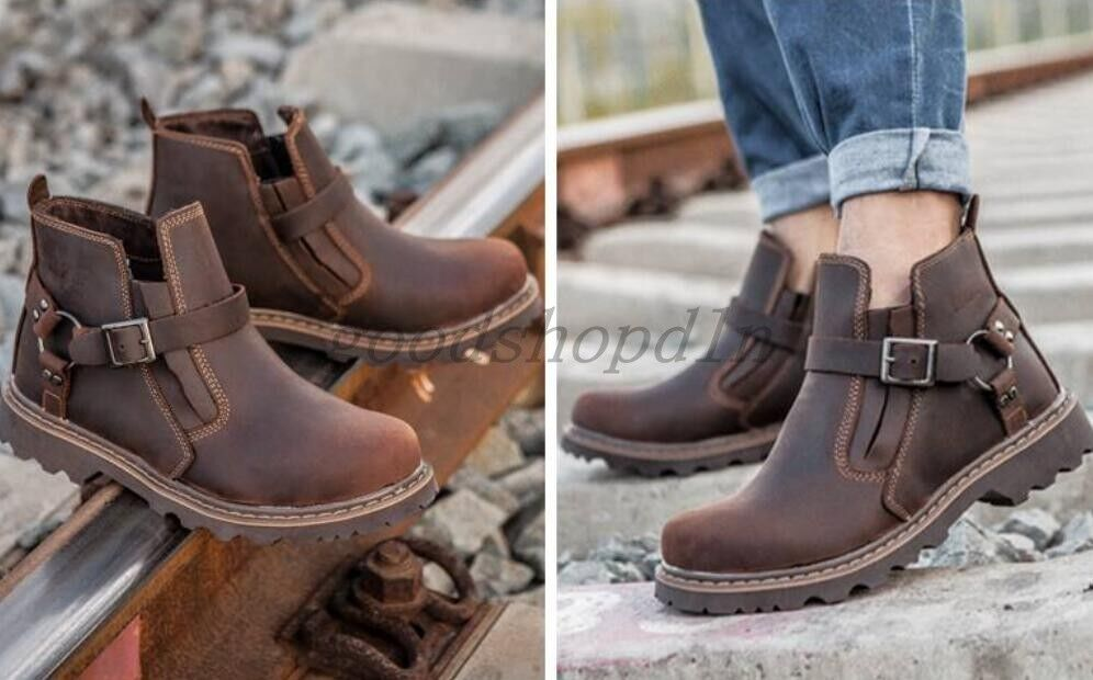 Retro Mens Round Toe Buckle Casual High Top Shoes Military Work Cowboy Boots SZ