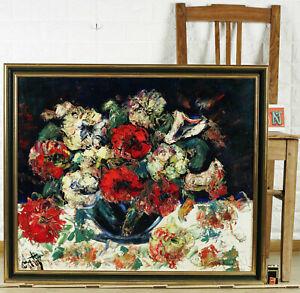 Henry-Maurice-D-039-D-039-Anty-1910-1988-Oil-Painting-Older-Still-Life-Flowers