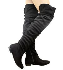 36590248853b item 4 Ladies Womens Slouch Over The Knee Thigh High Boots Stretch Low Heels  Shoes Size -Ladies Womens Slouch Over The Knee Thigh High Boots Stretch Low  ...