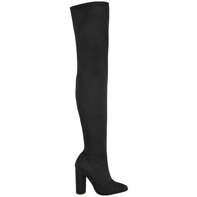 LADIES WOMENS OVER THE KNEE THIGH HIGH BOOTS LYCRA  STRETCH ZIP UP SHOES SIZE