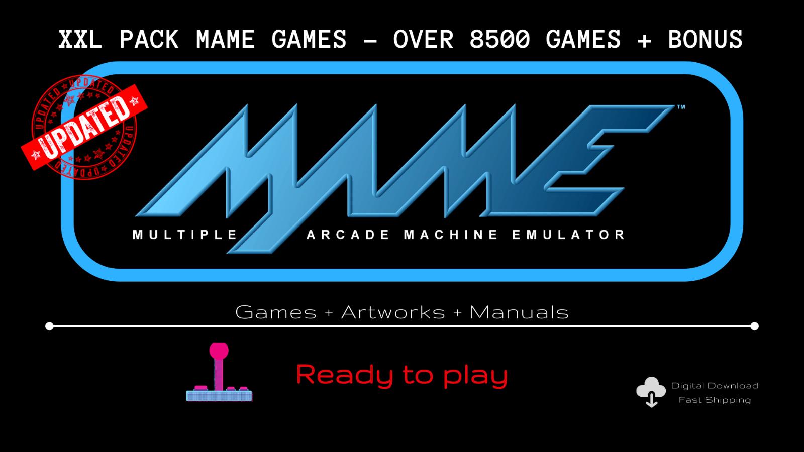 MAME XXL PACK - 8500+ Games + Artworks + Manuals - ARCADE, VINTAGE, ROMs DDW
