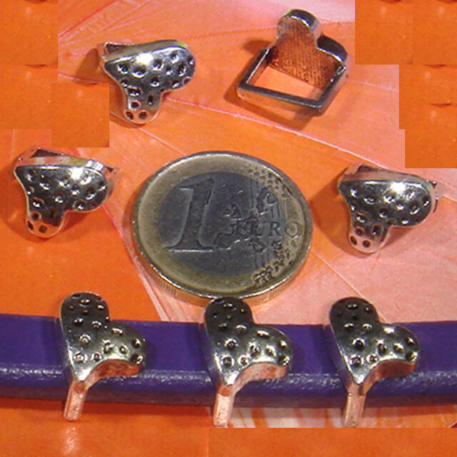 12 Abalorios Para Cuero Regaliz 12x11mm T488C Plata Tibetana Leather Beads