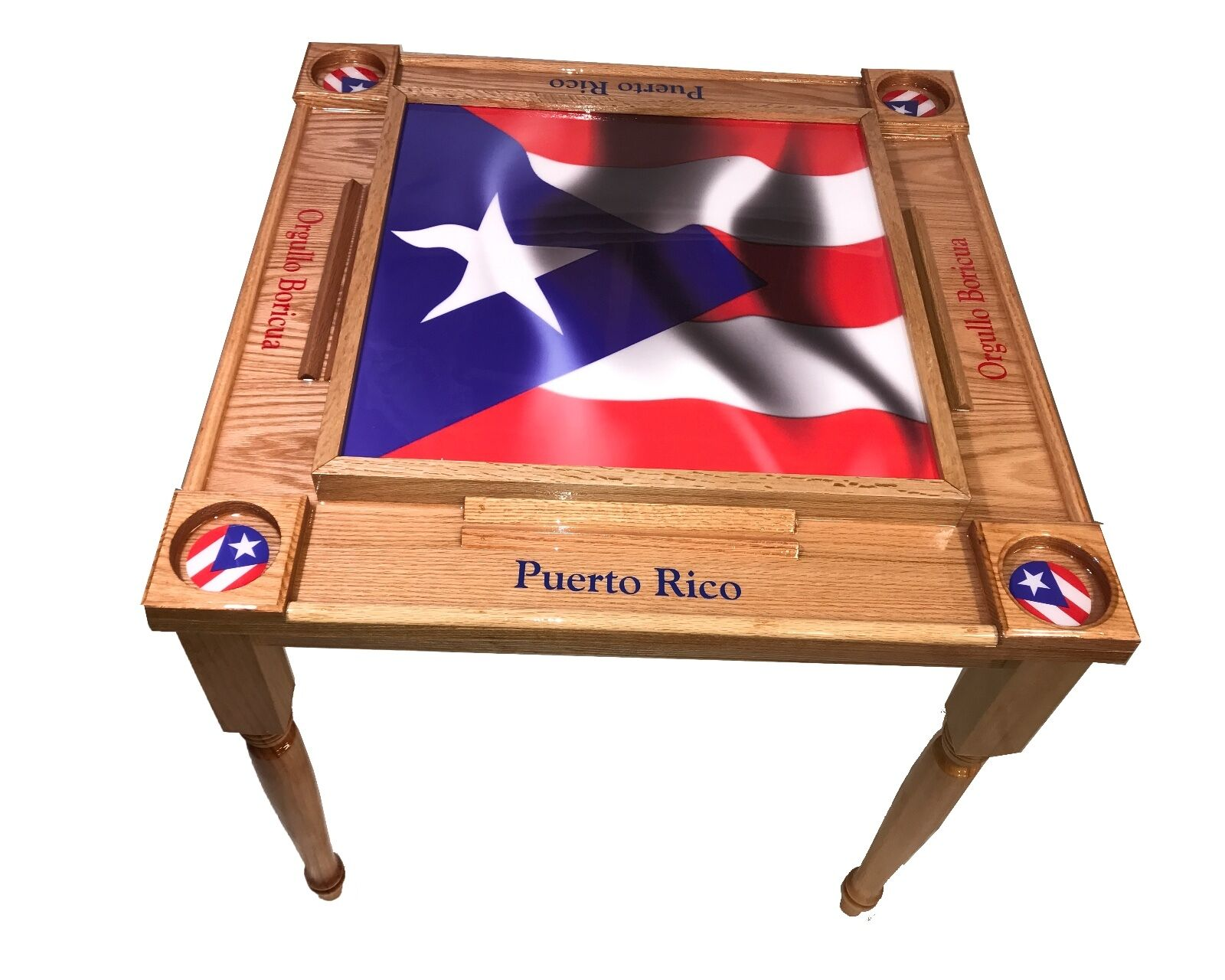 Puerto Rico Flag Domino Table  with the W Full Flag -MVP