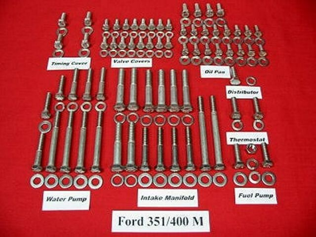 Ford 351m & 400m Stainless Steel Engine Hex Bolt Kit