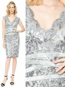 913ee63a Image is loading 328-Tadashi-Shoji-Steel-Silver-Paillette-Embroidered-Sequin -