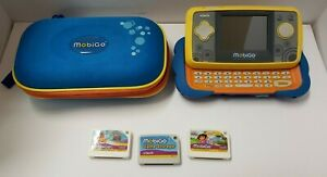 VTECH MOBIGO TOUCH LEARNING SYSTEM BLUE & YELLOW 2 GAMES, GAME STORAGE & CASE