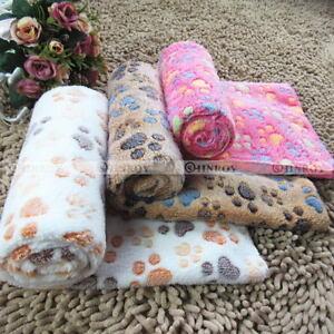 Chaud-Pet-Couverture-Chien-Chat-Doux-Corail-Polaire-Paw-Print-Bed-Mat