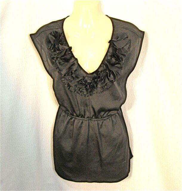1940cc65380e2 Ruffle Camisole Top L Sexy ELLE Black Shirt Blouse