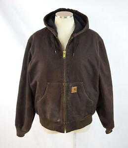 Vtg-90s-CARHARTT-Brown-Canvas-Quilt-Lined-Hooded-Work-Chore-Jacket-Coat-Mens-S