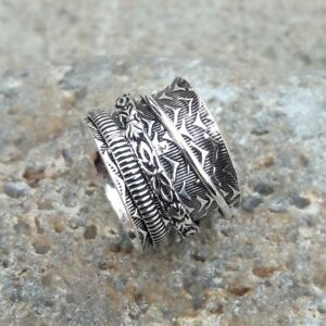 Solid-925-Sterling-Silver-Spinner-Ring-Meditation-Ring-Statement-Ring-Size-M482