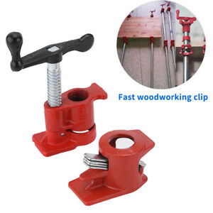 """3//4/"""" Wood Gluing Pipe Clamp Set Heavy Duty Woodworking Cast Iron 4 Pack"""