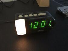 Vintage Deco Spartus LED Alarm Clock Gloss Black with Night Light Model 1192