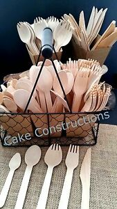 25-100-PACKS-FORKS-SPOONS-KNIVES-DISPOSABLE-PARTY-WOODEN-CUTLERY-CATERING-XMAS