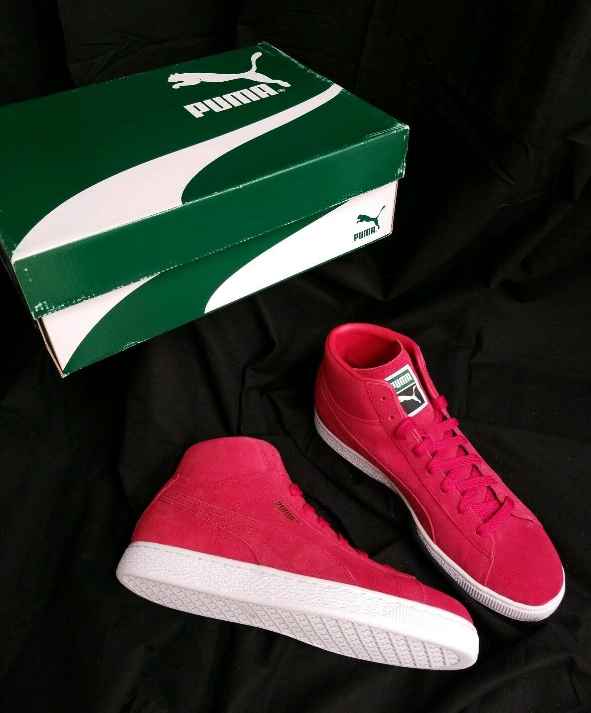 Puma Classic Mid Sneakers Mens 8.5 Red Suede Toreador High Top Lace shoes NWB