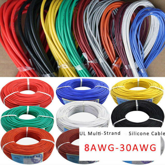 8AWG-30AWG Flexible Silicone Wire Insulation Tinned Copper Cable Black Red Line
