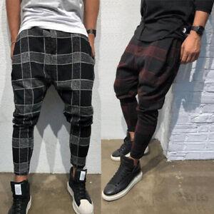 Men-Stylish-Loose-Plaid-Pant-Men-Casual-Harem-Pants-Joggers-Trousers-Men-Hip-Hop