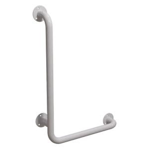 Winkelgriff 100/60 cm für barrierefreies Bad links montierbar weiß DN 32 mm